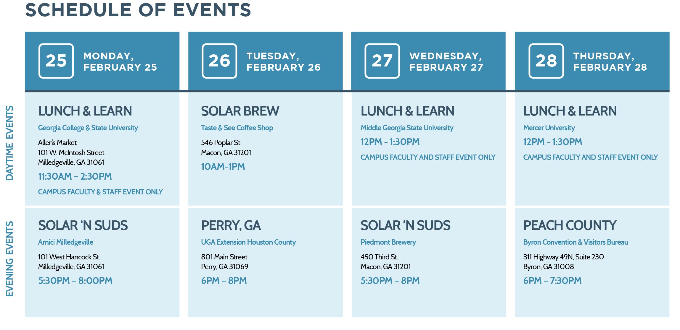 Solar Tour Schedule